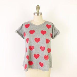 Modcloth Heart Print Scoop Neck Trapeze Tee Gray